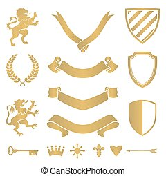 Heraldic silhouettes for signs and symbols safety, security,...