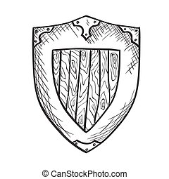Hand drawn sketch medieval shield