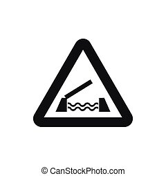 Lifting bridge warning sign icon, simple style - Lifting...