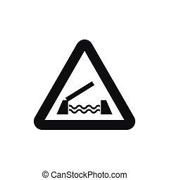 Lifting bridge warning sign icon, simple style - Lifting...