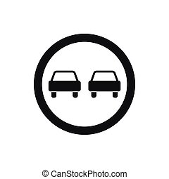 No overtaking road traffic sign icon, simple style - No...