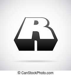 Vector logo for letter R. Design template