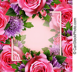 Rose and chrysanthemum flowers with place for text