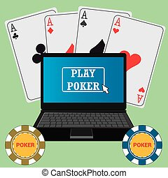 Laptop with the poker application on the screen, chips and...