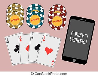 Online poker app on tablet touch screen, smart phone, cards...