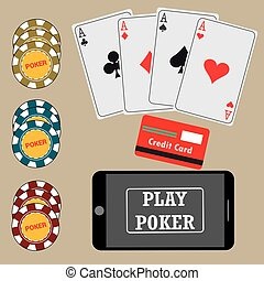 online poker - Online poker app on tablet touch screen,...