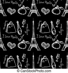 Seamless pattern background with Paris landmarks