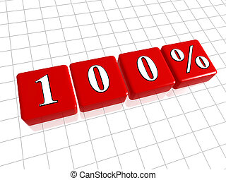 100 percentages in red cubes - 100 percent in 3d red cubes,...