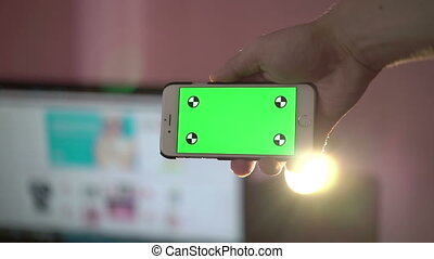Close Up Man Holding Smartphone Touch Screen With Green Screen Chroma Key