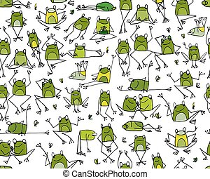Funny frogs pattern, sketch for your design Vector...