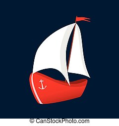 boat red icon illustration