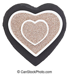 Chia Seed - Chia seed health food in heart shaped porcelain...