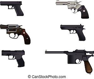 Seis, pistolas, Conjunto,
