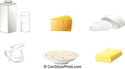 Six dairy products - Vector illustration of a six dairy...