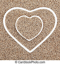 Sesame Seed - Sesame seed health food in heart shaped...
