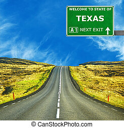 TEXAS road sign against clear blue sky