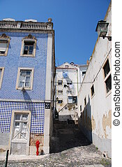 Abandoned residential building/alley in Lisbon