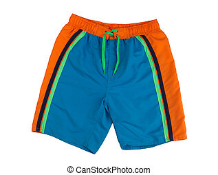 Shorts for swimming - Blue shorts with orange stripes...