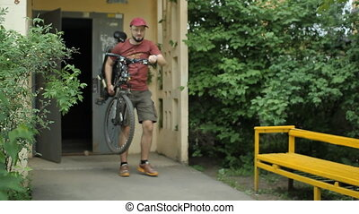 Mountain bicycle start riding from home
