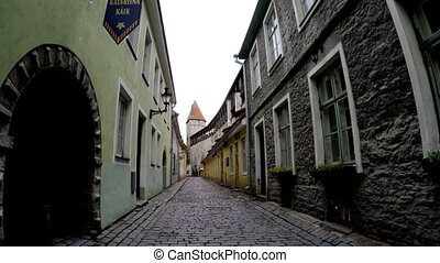 Old houses on the Old city streets. Tallinn. Estonia - Old...
