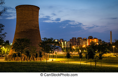 Turin (Torino) Parco Dora with former Michelin plant cooling...