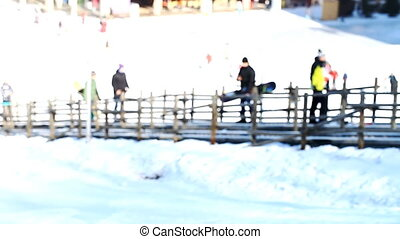 lift for skiers and snowboarders, blurred background