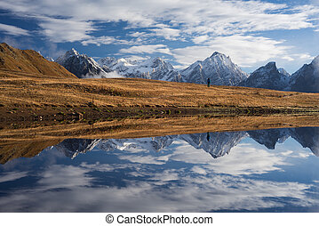 Mirroring mountain lake - Beautiful landscape. Mountain Lake...