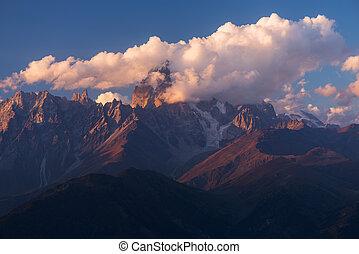 Beautiful mountain peak in the clouds - Mountain top in...