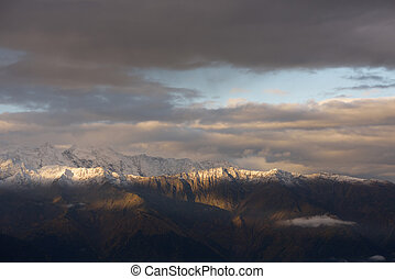 Ridge in the snow - Morning landscape with a mountain range...