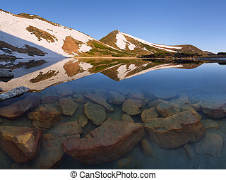 Mountain Lake in the spring - Mountain Lake Stones in the...