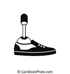 Prosthetic leg icon, simple style - Prosthetic leg icon in...