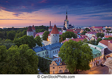 Tallinn - Image of Old Town Tallinn in Estonia during sunset...