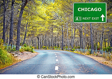 CHICAGO road sign against clear blue sky