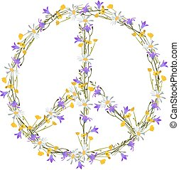 Flower power peace symbol, isolated vector