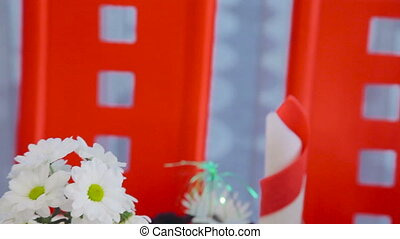 Close up decoratet with flowers wedding table in full HD