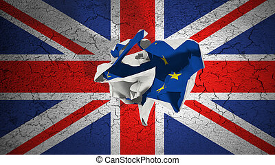 brexit rolling crumpled paper with blue european union EU...