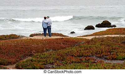 Senior Retiree Couple By Sea - Senior citizens retired...