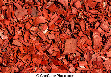 Wood chips. - Red lawn wood chips of different sizes
