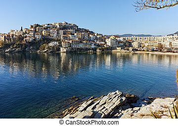aqueduct and old Old town of Kavala - Amazing Panorama of...