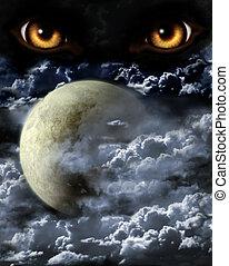 Full moon - Dark series - full moon. Horror in night