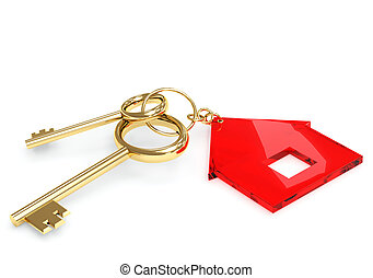 Two 3d gold key