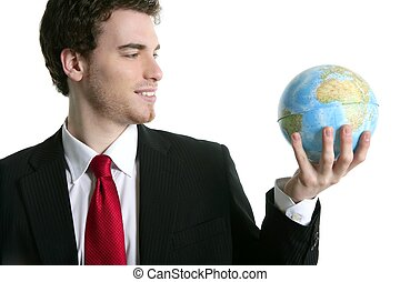 businessman tien suit with world ball map in hand