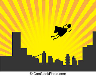 Stick figure superhero flies past b - Cartoon simple super...