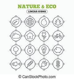 Nature and Eco icons Trees, rose flower - Linear icons with...