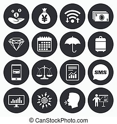 Money, cash and finance icons. Savings sign. - Wifi,...
