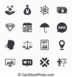 Money, cash and finance icons. Savings sign. - Calendar, go...