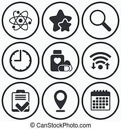 Medical icons. Atom, magnifier glass, checklist. - Clock,...