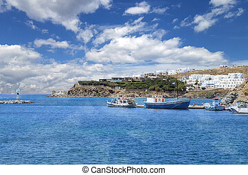View from old port of Mykonos island, Greece