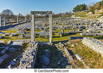 Archeological area of Philippi - Ruins of entrance in the...