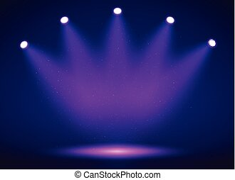 Spotlight on stage for your design. Colorful light. Vector...